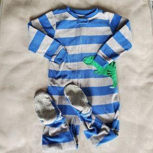 Carter's Stripe Fleece Zippered & Footed Pajama 3T